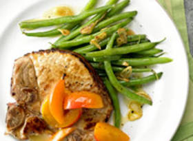Apricot Pork with Garlic Green Beans