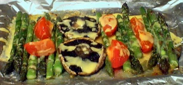 Asparagus, Mushroom and Tomato Bake With Seasoned Cheese Sauce