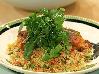 Bacon Corn Couscous With Salmon