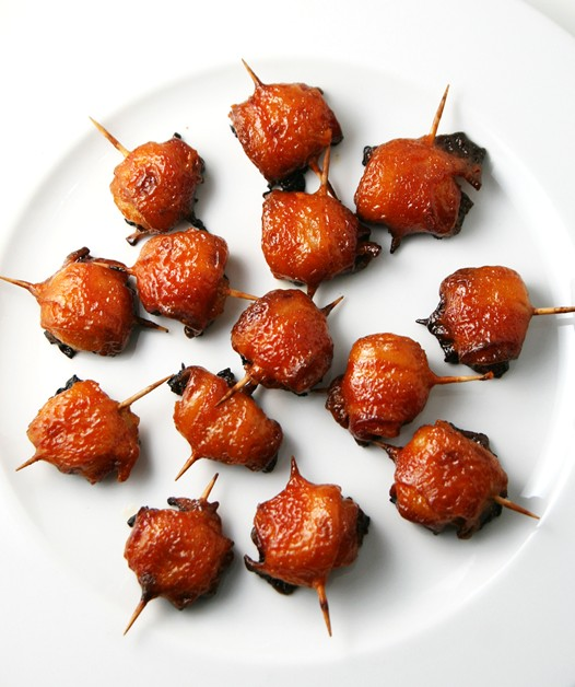 Bacon Wrapped Water Chestnuts With Ketchup Sauce