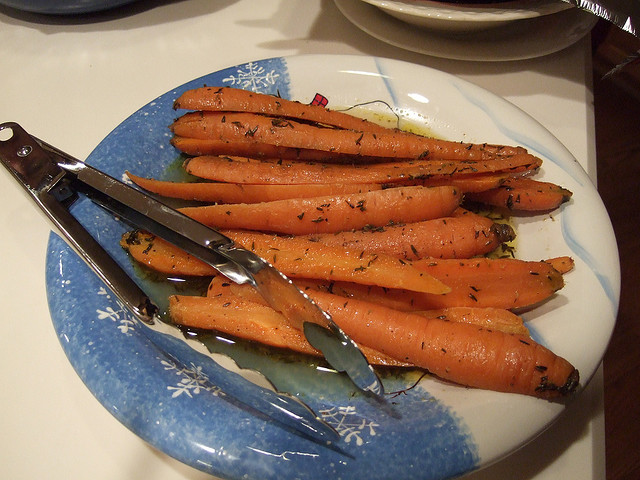 Baked Carrots With Cumin, Thyme, Butter and Chardonnay