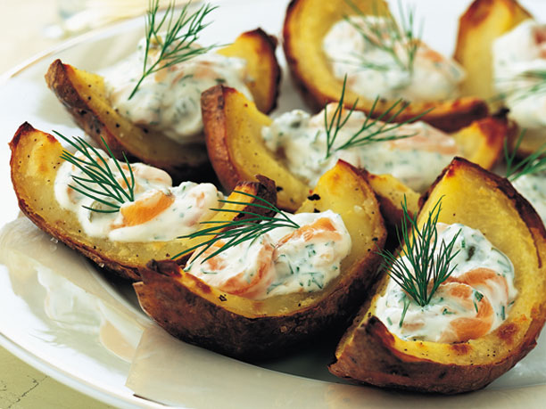 Baked Salmon in Potato Shells