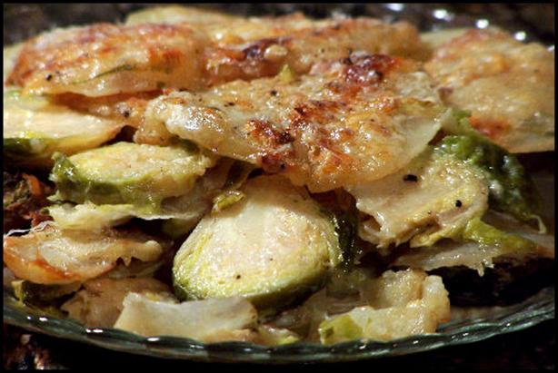 Barbecue Eye Round on Mashed Turnips and Potatoes with Roasted Brussels Sprouts