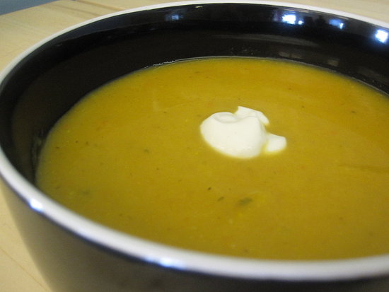 Butternut Squash and Apple Soup With Cider Cream