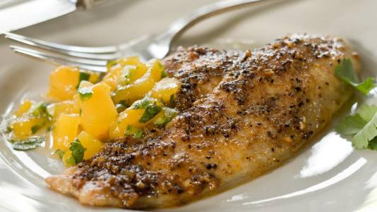Catfish with Spiced Fruit Salsa