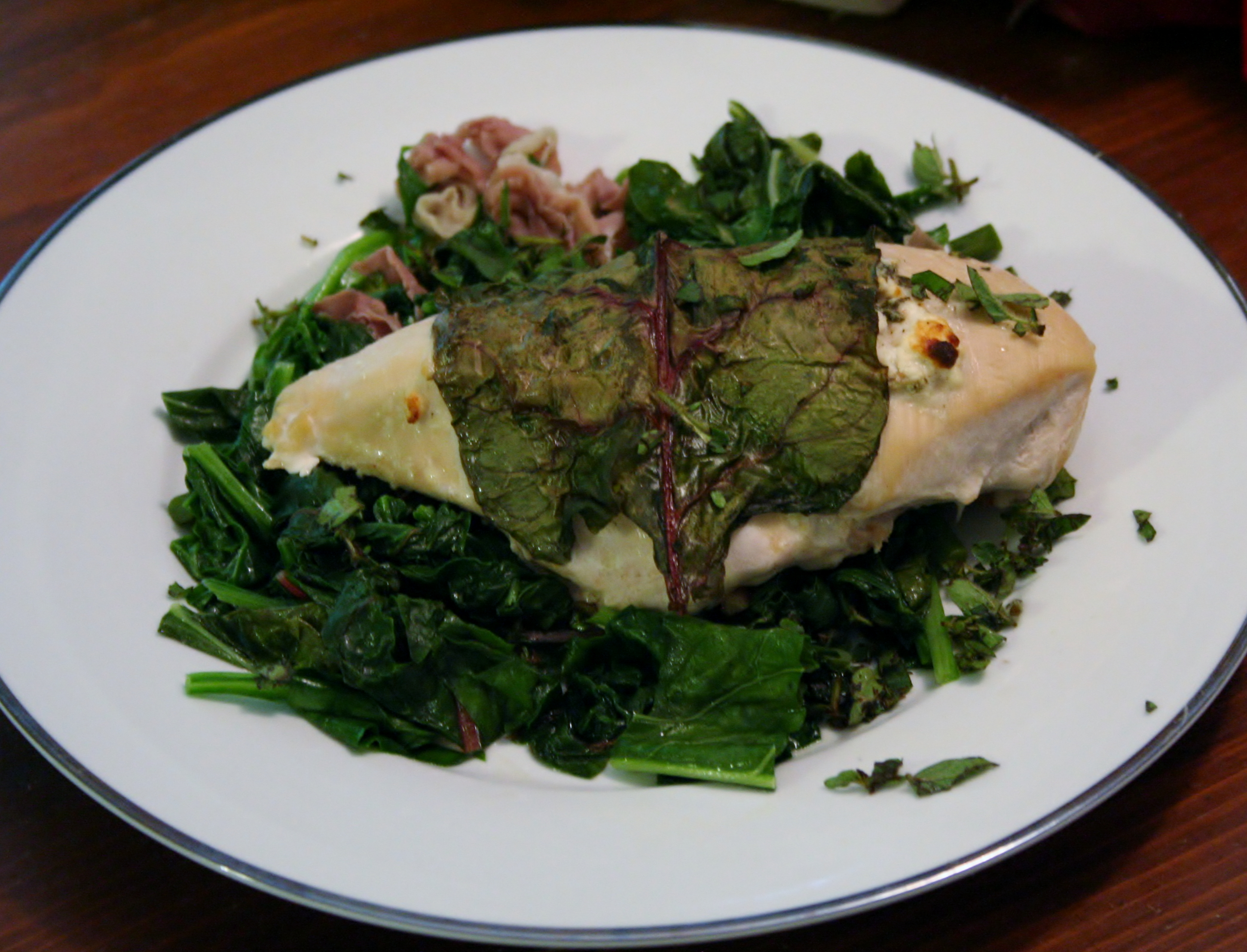 Chard Wrapped Chicken