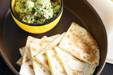 Cheesy Guacamole Quesadillas