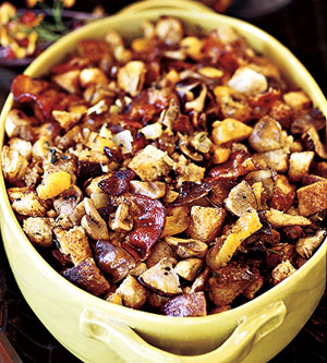 Chestnut-Sourdough Stuffing with Apricots, Roasted Mushrooms, and Smoked Bacon