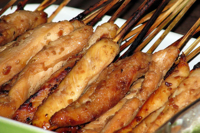 CHICKEN-ON-A-STICK (WITH PEANUT DIPPING SAUCE)
