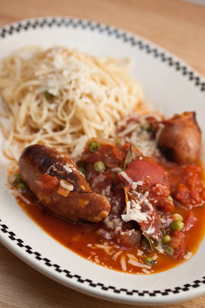 Chicken Sausage With Pasta and Tomato Sauce