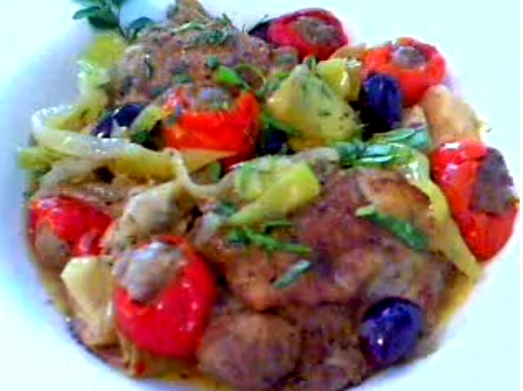 Chicken With Sausage and Hot Cherry Peppers