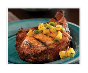 Chili-Rubbed Pork Chops with Grilled Pineapple Salsa