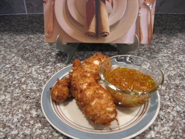Coconut Chicken Strips With Creamy Mango Chutney