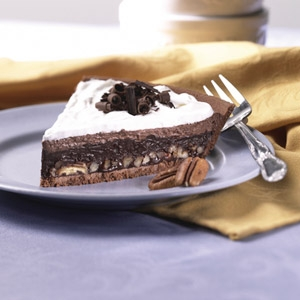 Decadent Triple Layer Mud Pie made with Reduced Fat Pie Crust