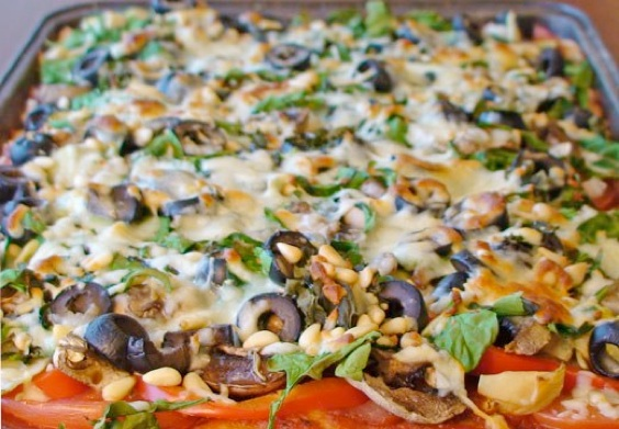 Deep-Dish Vegetable Pizza - Recipegreat.com