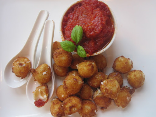 Deep-Fried Bocconcini With Spicy Tomato and Garlic Chutney