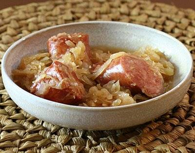 Delicious kielbasa and sauerkraut