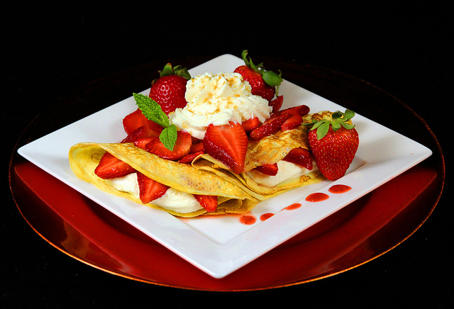 Dessert Crepes with Strawberry Cream Filling