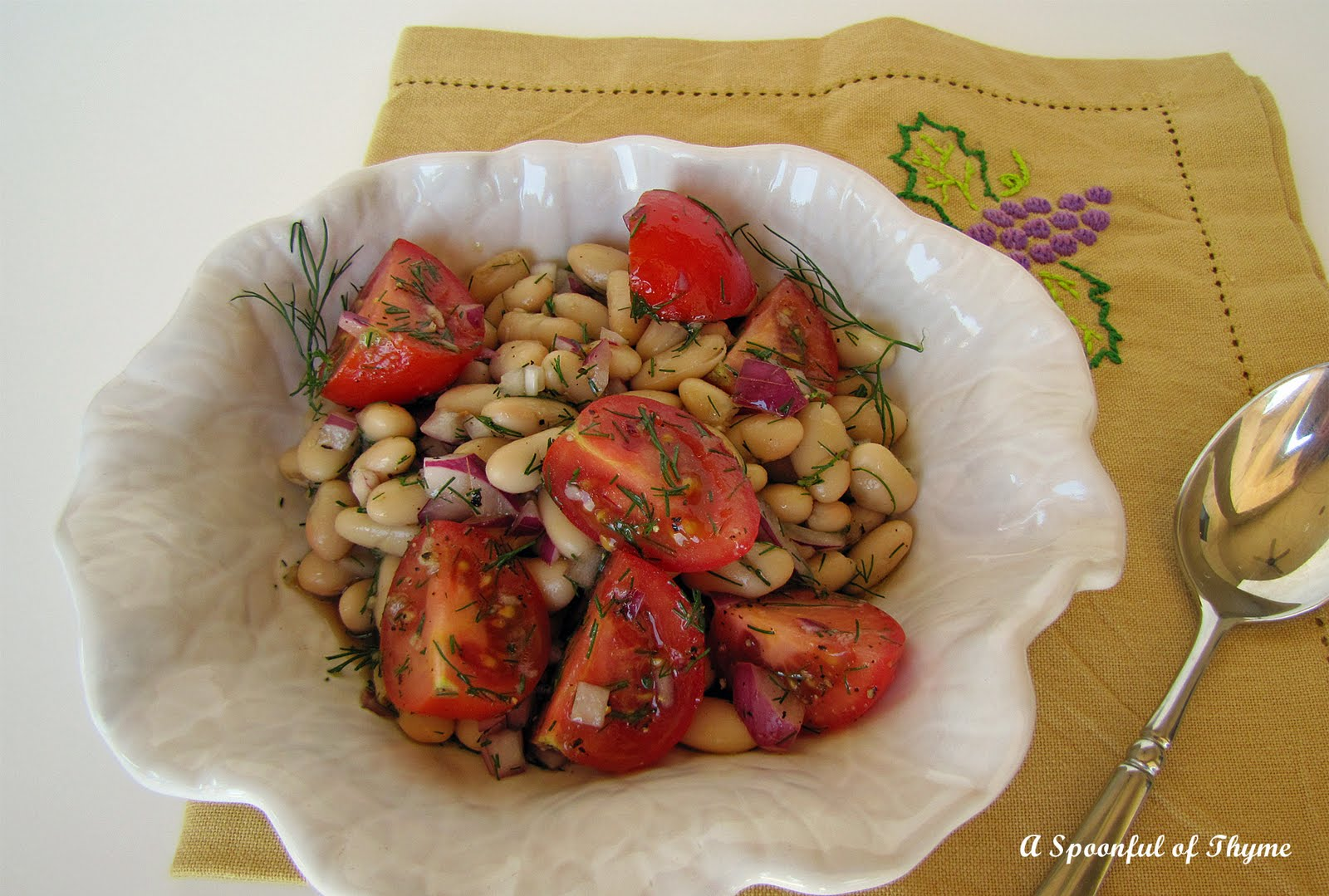 Dilled White Bean and Grape Tomato Salad