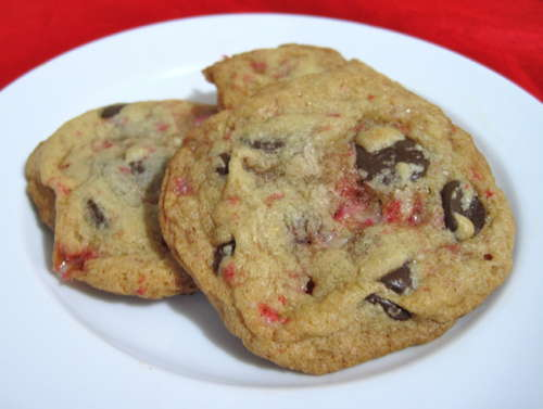 Double Chocolate Chip Cookies with Peppermint