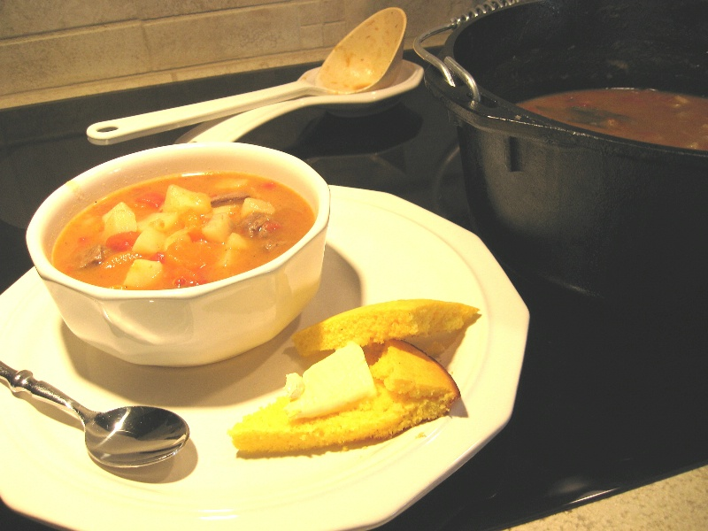 Easy Beef Stew Baked in a Cast Iron Dutch Oven