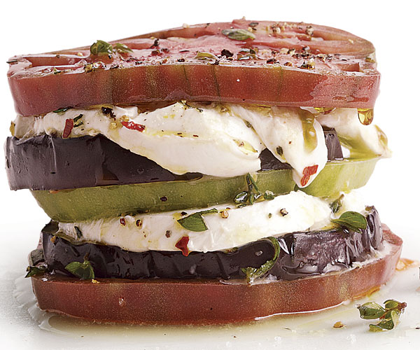 Eggplant, Heirloom Tomato, and Buffalo Mozzarella Stacks