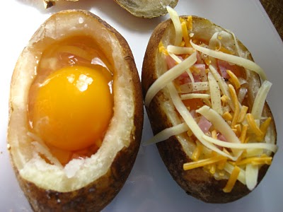 Eggs in Baked Potatoes