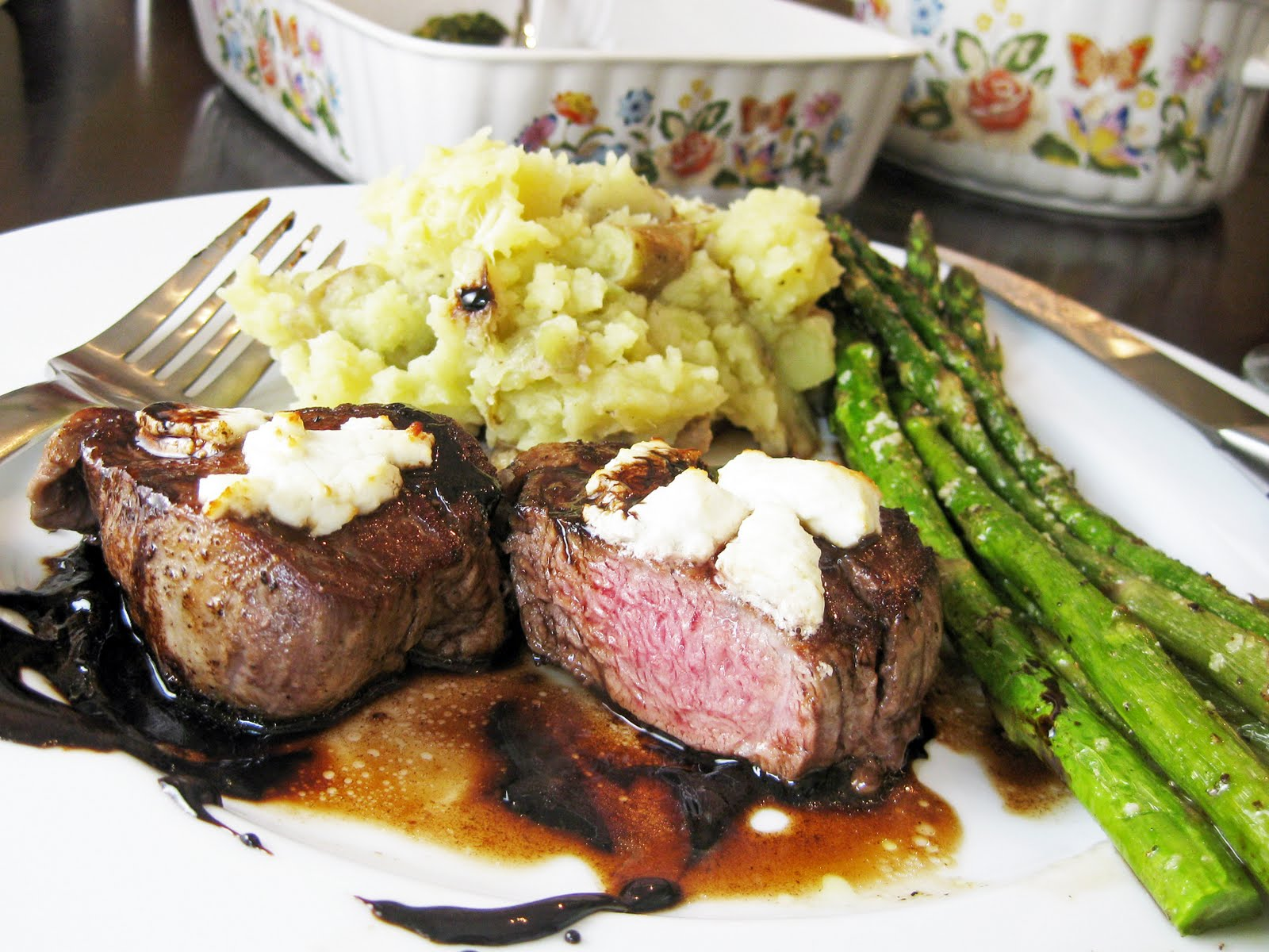 Filet Mignon With Goat Cheese and Balsamic Reduction