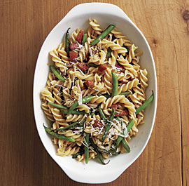 Fusilli with Green Beans, Pancetta, and Parmigiano