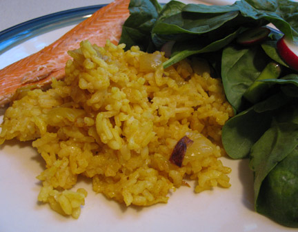 Garlicky Yellow Rice