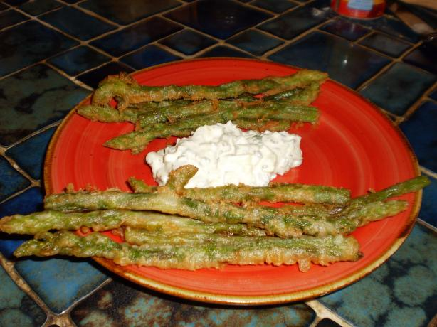 German Fried Asparagus With Herb Cream