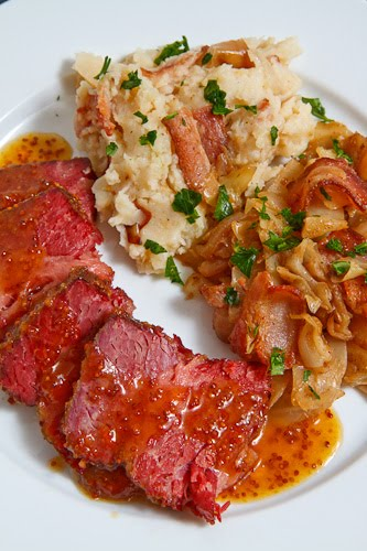 Glazed Corned Beef with Lentils