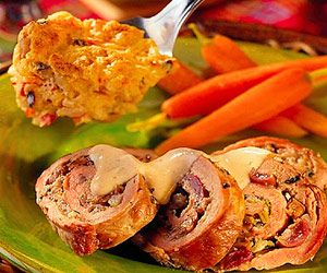 Grape Stuffed Pork Loin Rolls