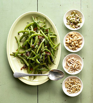Grilled Green Beans with Shallots and Sesame Seeds