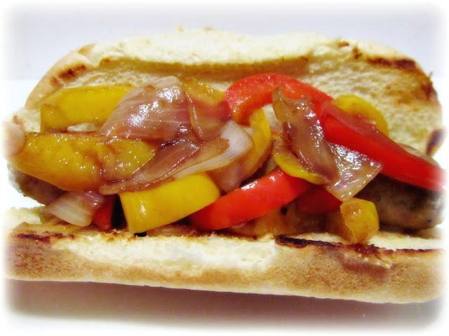 Grilled Sausages, Onions, and Peppers on Rolls