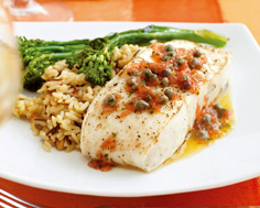 Halibut With Grapefruit and Capers