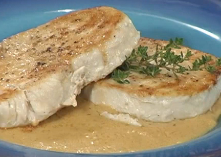 Halibut With Mustard & Vermouth
