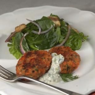 Healthier Salmon Cakes With Lime Dill Sauce