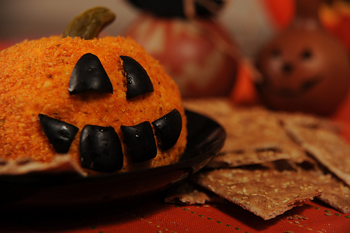Jack-O-Lantern Cheese Ball