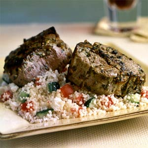 Lamb Steak With Greek Tomato Sauce and Feta