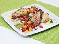 Lime Grilled Chicken W/Roasted Poblano & Grilled Mango Salsa