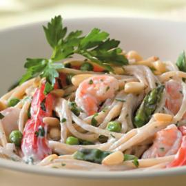 Low Calorie Shrimp Asparagus Penne With Red Pepper Cream Sauce