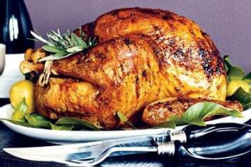 Ma Lipo's Apricot-Glazed Turkey with Roasted Onion and Shallot Gravy