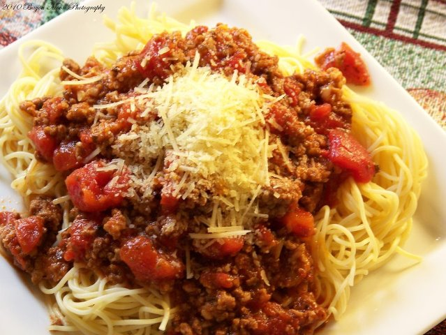 Meat Sauce over Steamed Cabbage