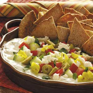 Mediterranean Party Dip With Pita Chips