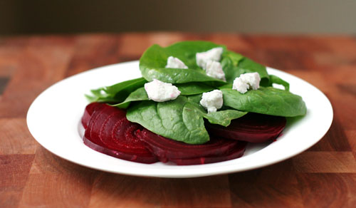 Nicole's Balsamic Beet and Fresh Spinach Salad