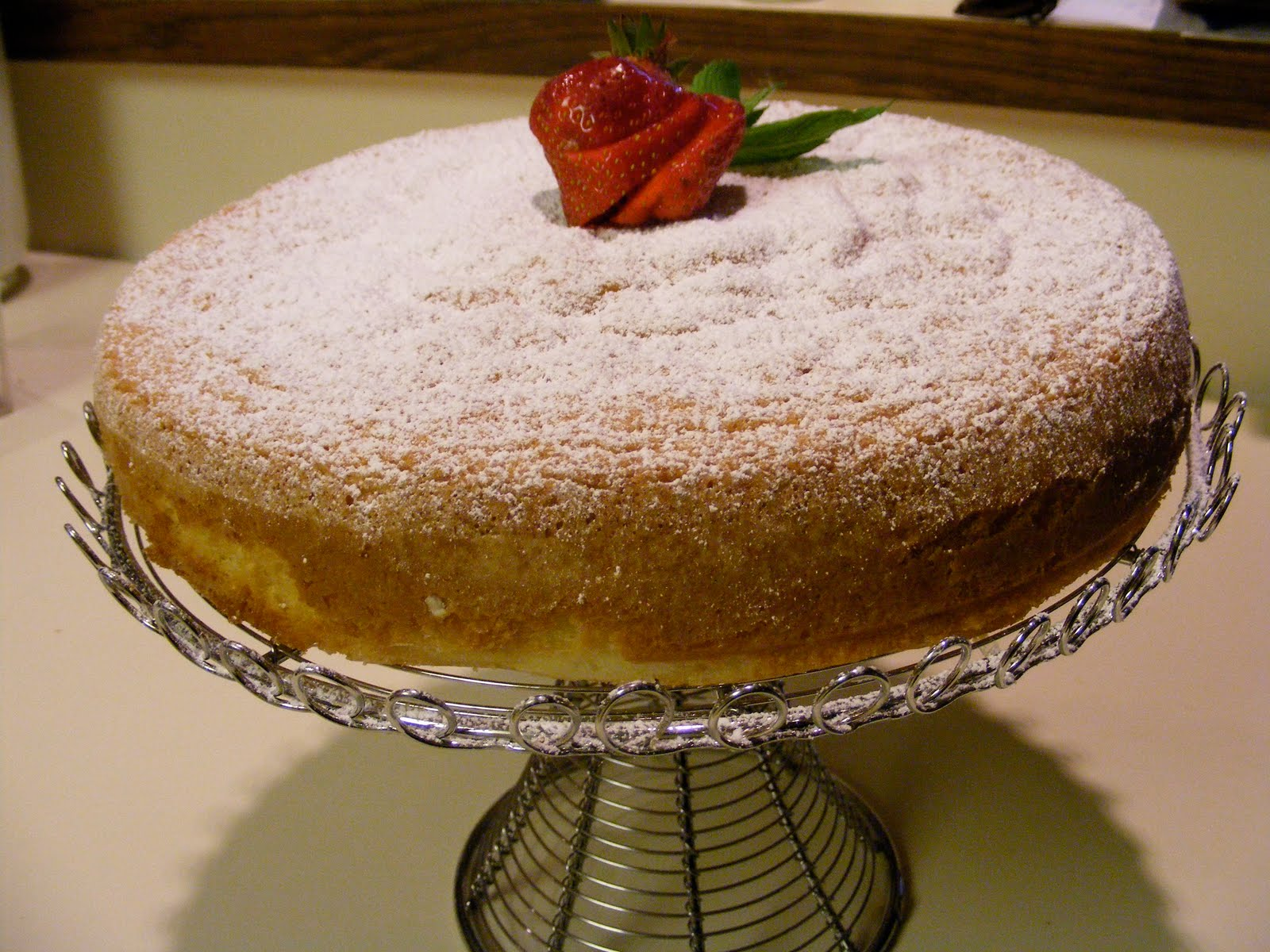 Olive Oil Genoise in Strawberry Champagne Sauce