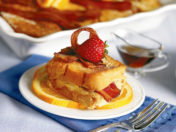 Orange Laced French Toast Casserole with Caramelized Bacon