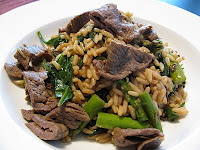 Oriental Flank Steak with Asparagus and Wild Rice Pilaf