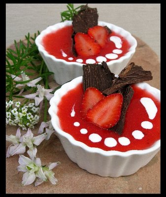Panna Cotta With a Coulis of Lime-Strawberries